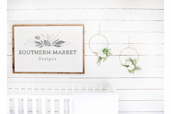 Nursery 24x36 Sign Mock Up Wood Frame Styled Photography