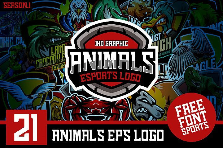 21 Set Animals Logo esports Gaming Include Free Font