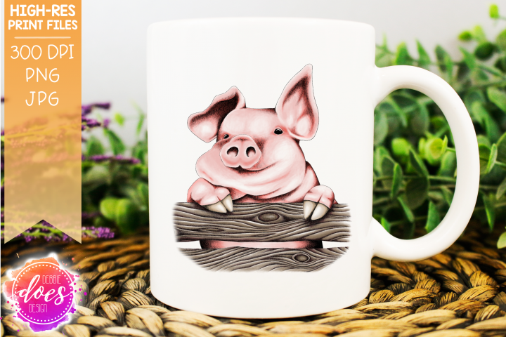 Cute Hand Drawn Pig on Fence A - Printable Design