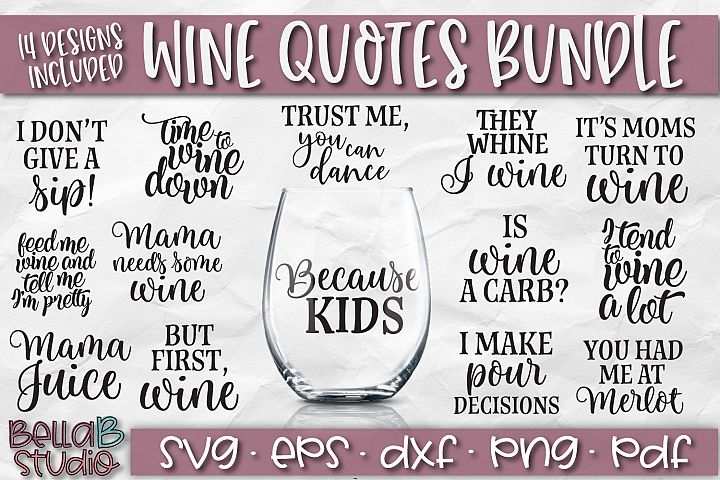 Wine Bundle SVG, Wine Quotes SVG, Wine SVG Files