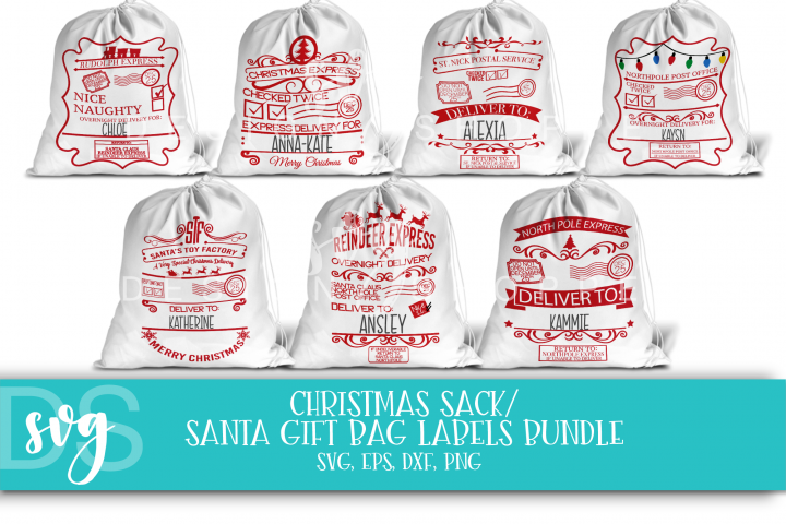 Christmas, Santa, Gift Bag Labels, Sack, SVG, EPS, PNG, DXF