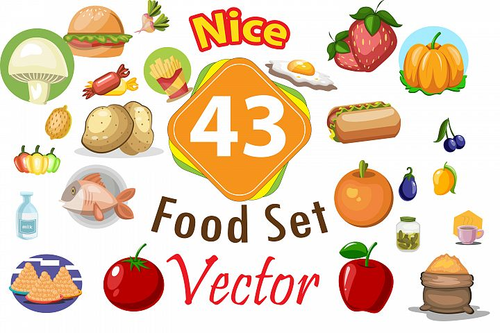 43x Food High Quality vector collection!