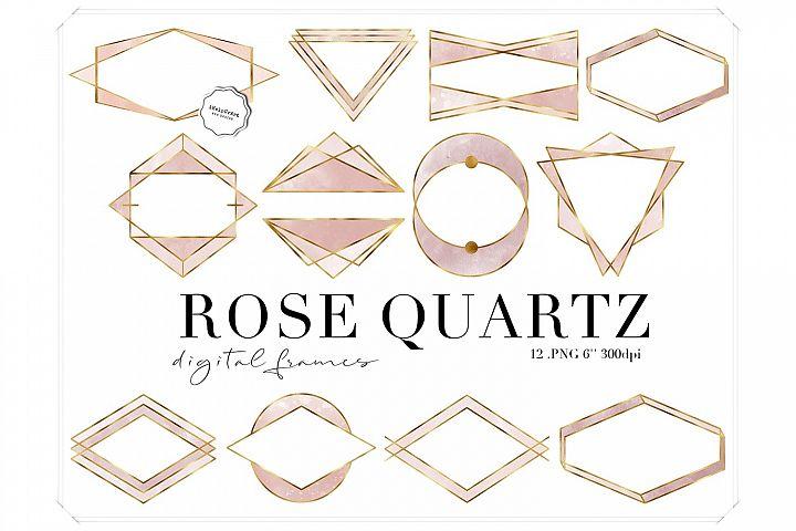 Rose Quartz Watercolor and Gold Polygonal Frames