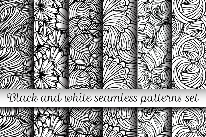 Black and white floral seamless patterns set