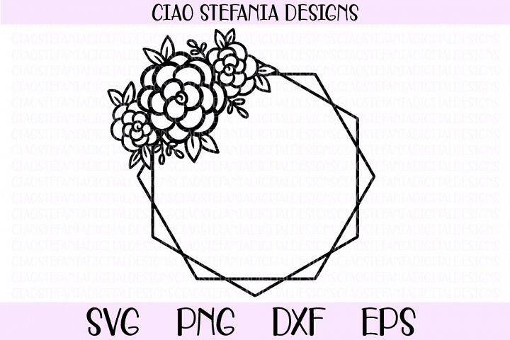 Flower Geometric Diamond Frame Wedding SVG PNG DXF EPS Cut