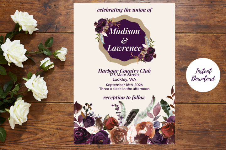 Plum and Beige Autumn Wedding Invitation