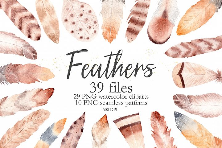 Watercolor Boho Feathers Collection