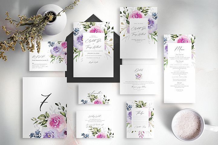 Set of watercolor wedding suite