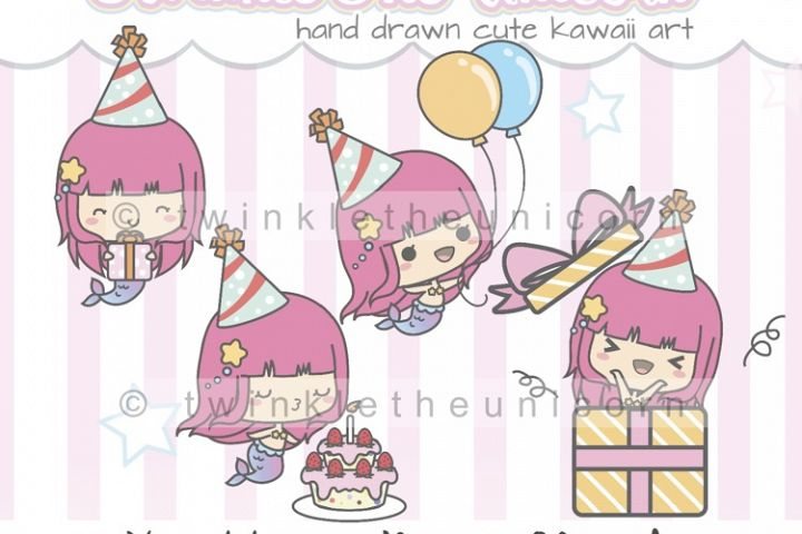 KAWAII MERMAID CLIPART, png graphic collection, happy birthday, planner girl, birthday cake, birthday gift, balloons, emoticon clipart, surprise