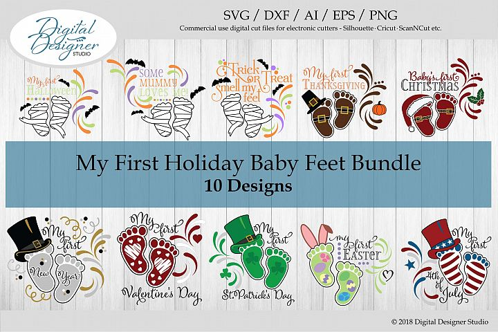 My First Holiday Baby Feet Bundle SVG Cut Files