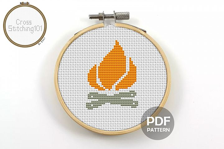 Camp Fire Cross Stitch Pattern - Instant Download PDF