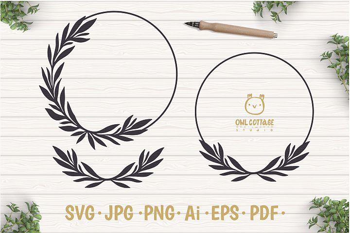 Laurel Leaf Wreath SVG, Floral Monogram, Wedding Sign