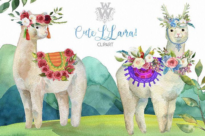 Cute watercolor llama alpaca clipart, animal floral tribal
