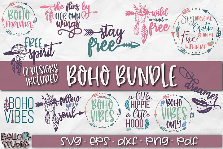 Boho SVG Bundle, Boho SVG File Feathers, Arrow, Tribal