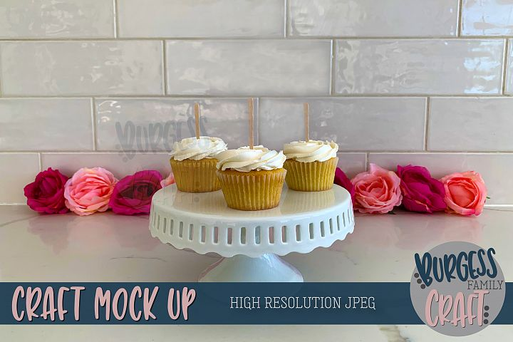 Cupcake toppers Craft mock up | High Res JPEG