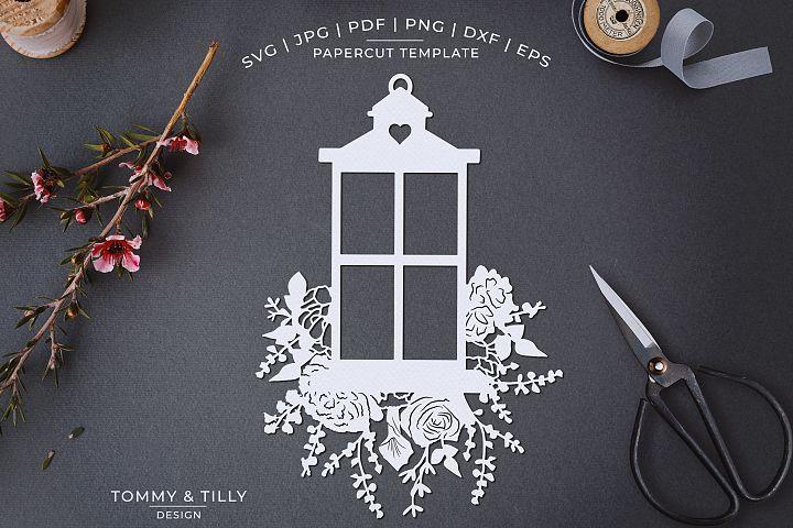 Romantic Floral Lantern- Papercut Template SVG JPG PNG