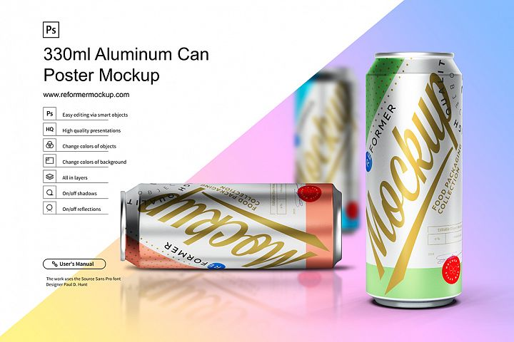 330ml Aluminum Can Poster Mockup