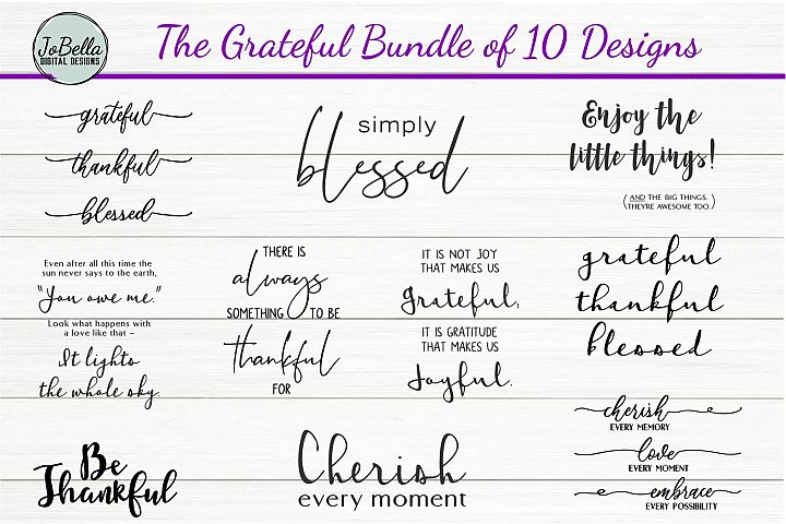 The Grateful SVG and Printable Bundle of 10 Designs