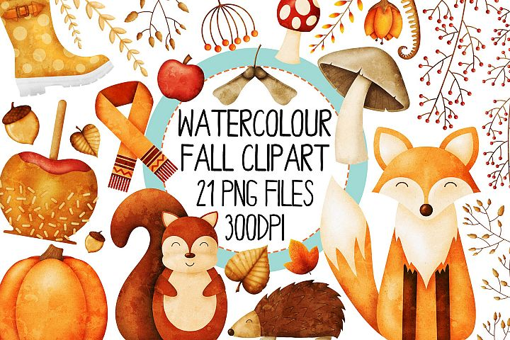 Watercolor Fall Clip Art Set 1