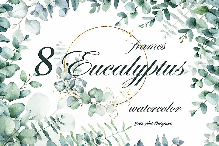 Blue Eucalyptus .Wreathes and freames. Watercolor collection