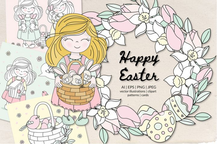 HAPPY EASTER Seamless Pattern Vector Illustration Set