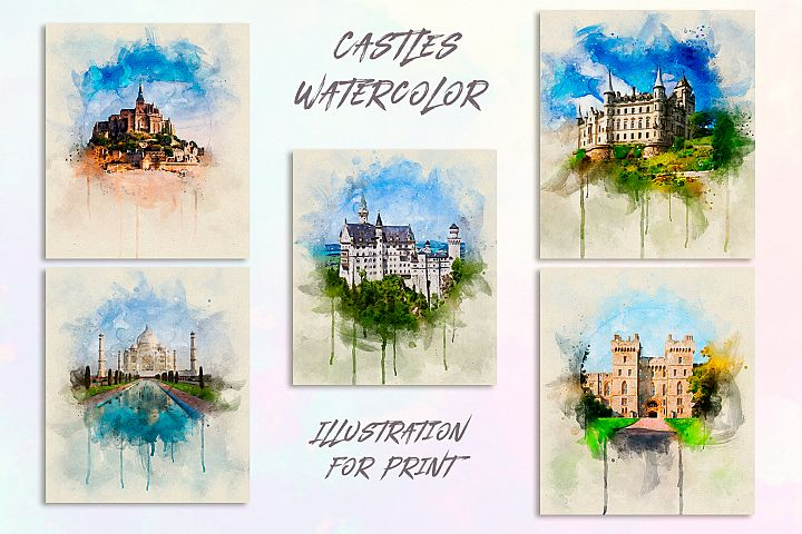Castles Watercolor for Print