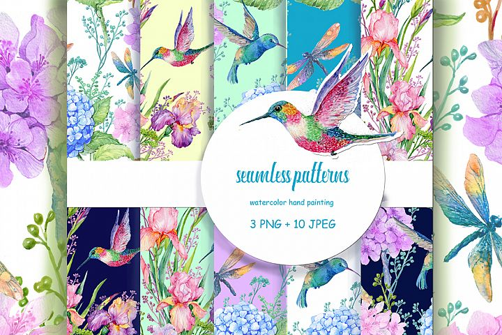 seamless patterns/flowers watercolor