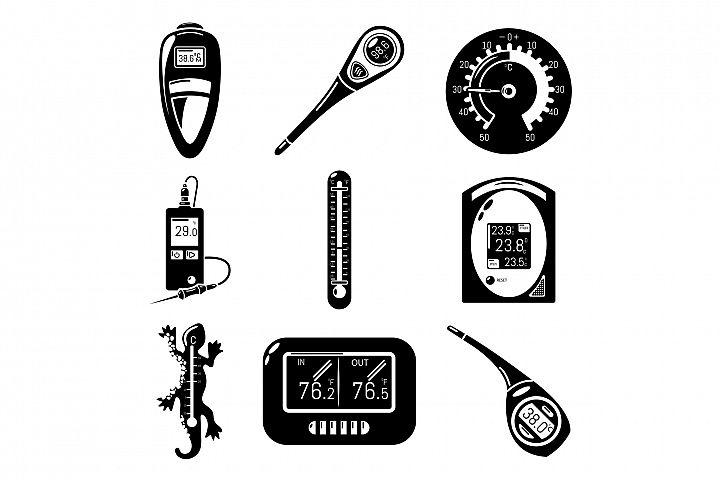 Thermometer indicators icons set, simple style