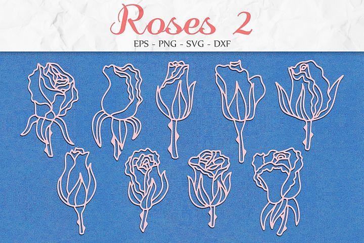 Roses Flowers svg png dxf eps - Rose Flower Set
