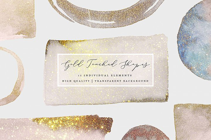 Watercolor Gold Sparkle Sprinkled Shapes