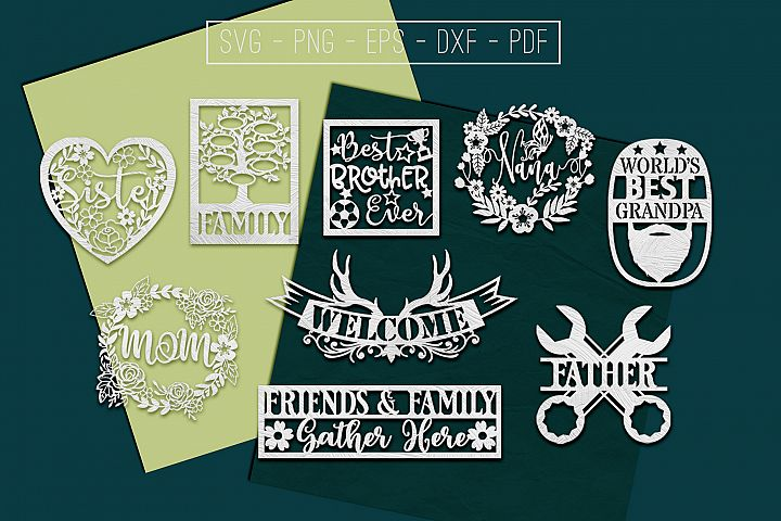 9 Family Paper Cut Templates Bundle, Sibling SVG, PDF, DXF