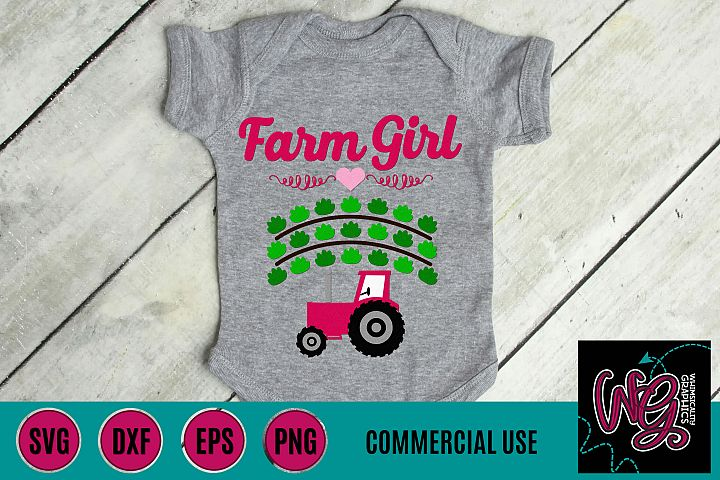 Farm Girl Crops Tractor SVG DXF PNG EPS Commercial