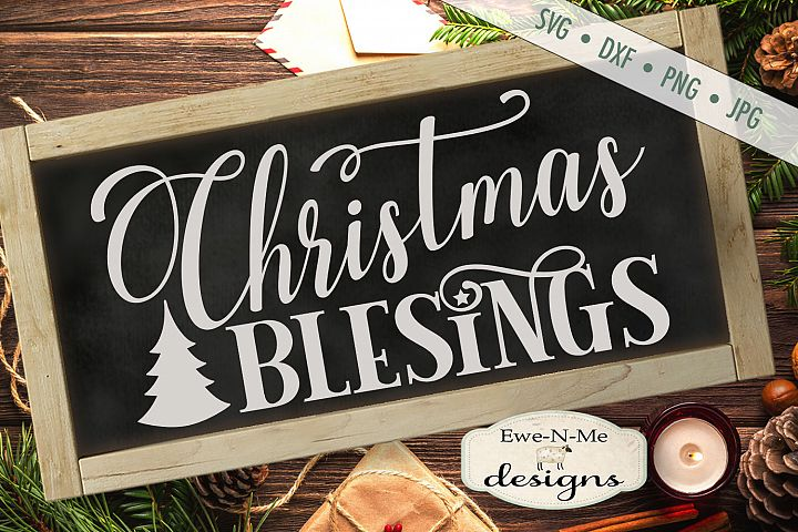Christmas Blessings - Tree - SVG DXF Files