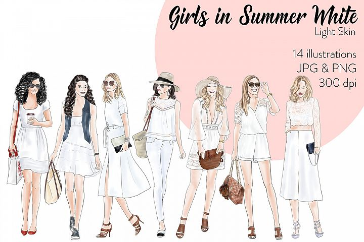 Watercolor Fashion Clipart - Girls in Summer White - Light Skin