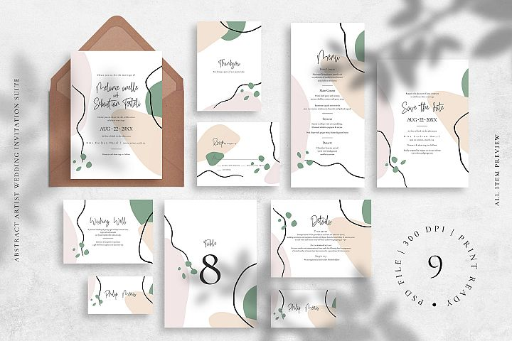 Abstract Artist Wedding Invitation Suite