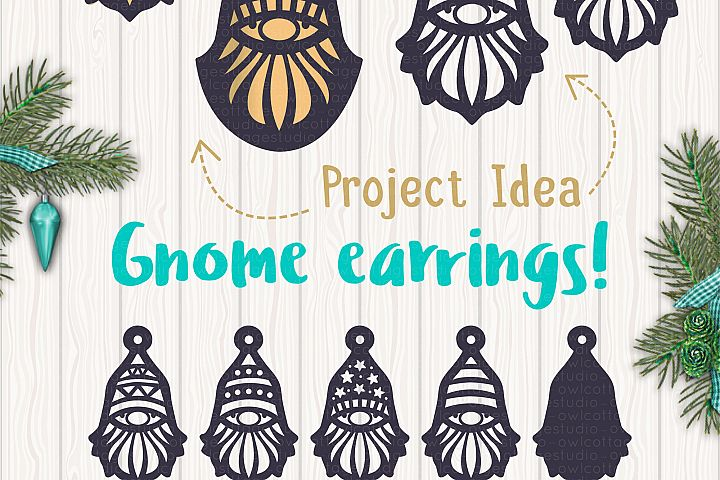 Gnomes Earrins Template Set SVG, Gnome Clipart, Tomte example 7