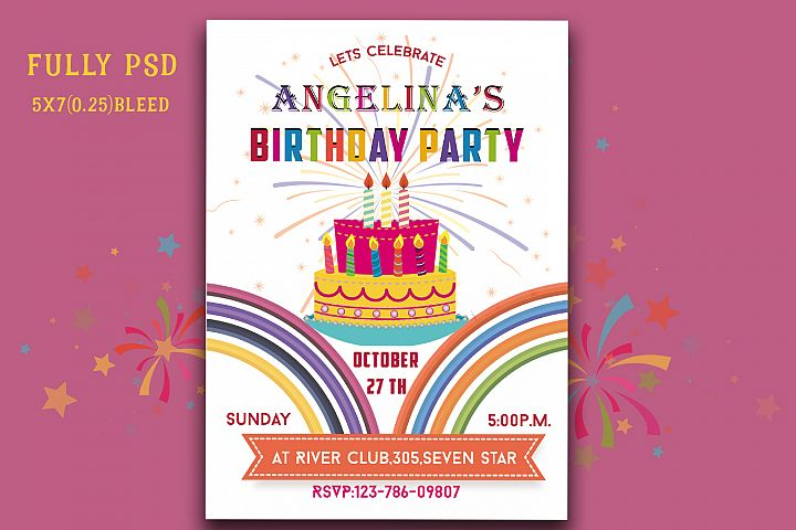 Colourful Birthday Invitation Card