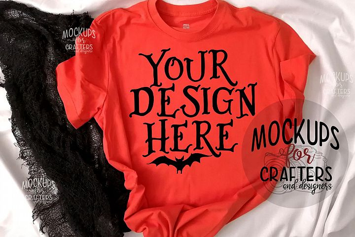 Halloween, Orange T-Shirt Mock-Up