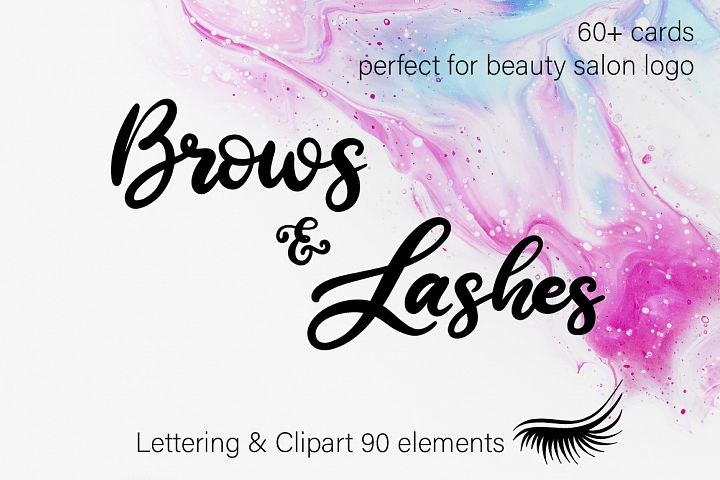 Brows & Lashes. Lettering and clipart.
