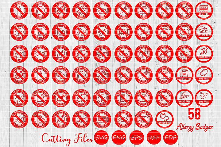 58 Allergy Badges Super Bundle | SVG Cut files | Cricut |