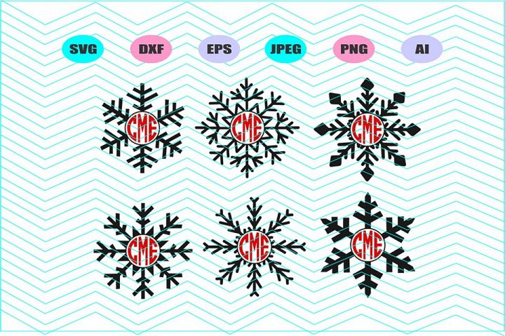 Snowflake monogram Svg Vector File Cricut Design Vinyl Decal
