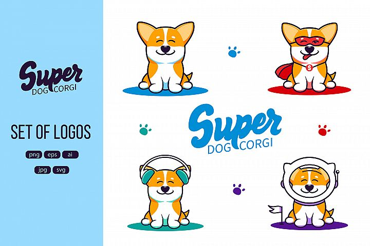 A little dog corgi, logo. Funny cartoon character