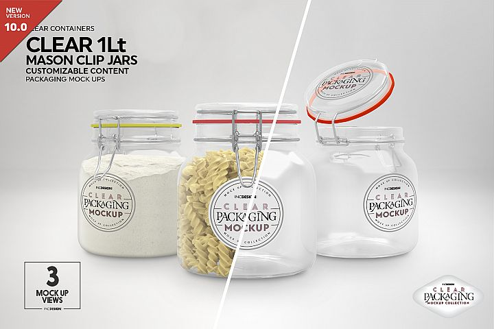 Clear 1Liter Mason Clip Jar Packaging Mockup