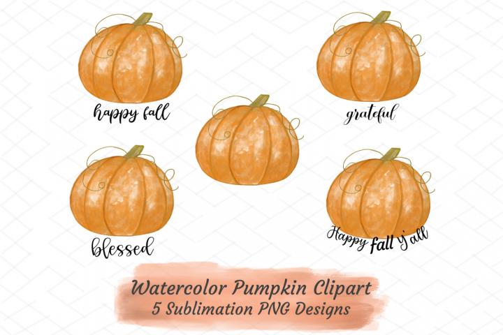 Fall Autumn Sublimation Bundle Watercolor Pumpkins Clipart