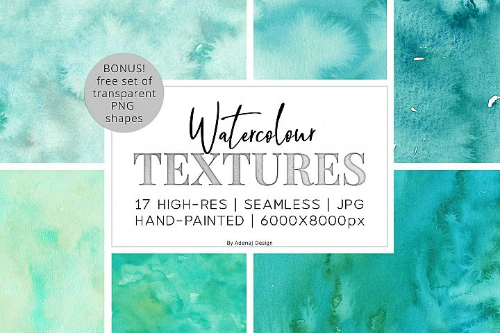 17 Huge Seamless Green Watercolor Textures