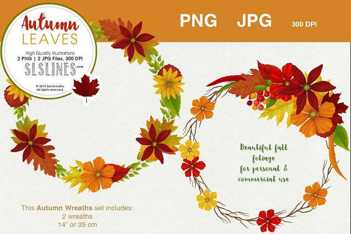 Fall Foliage Wreath Set PNG