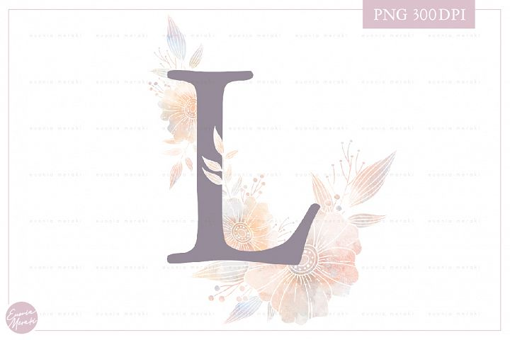 MONOGRAM Letter L Elegant Floral Monogram - Flower alphabet