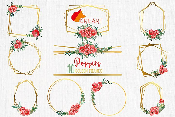 Watercolor red poppies and leafs golden frames and borders