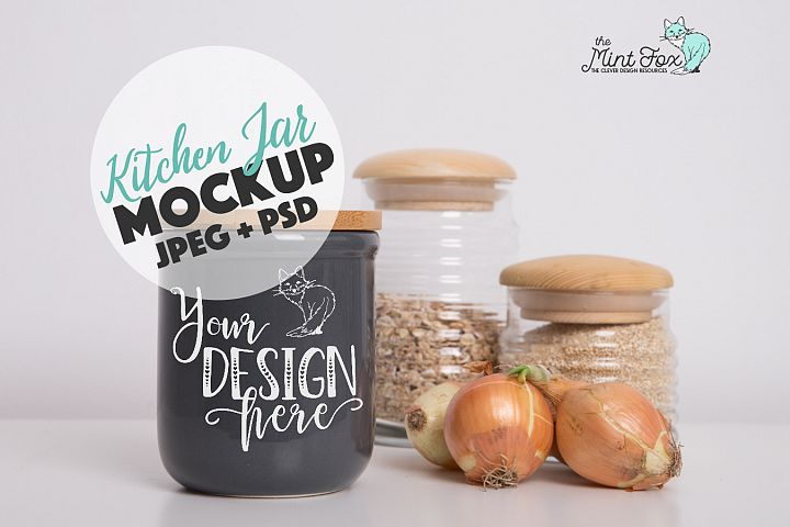 Kitchen Jar Mockup with Onions | PSD & JPG Mockup