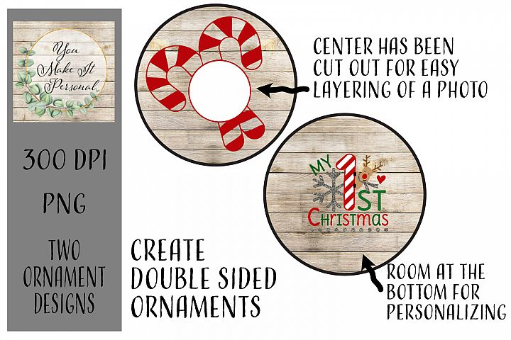 Sublimation Ornament Template - 1st Christmas - Add photos